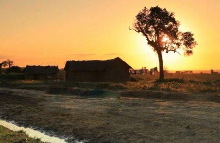 دارای فوتیج زیبای غروب آفتاب از جاده و مزرعه خالی