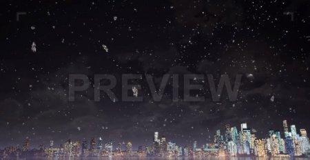 دانلود فوتیج زیبای برف و شهر در شب