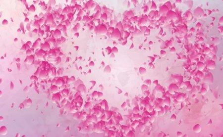 دانلود موشن گرافیک گلبرگ های در حال پرواز با شکل قلب